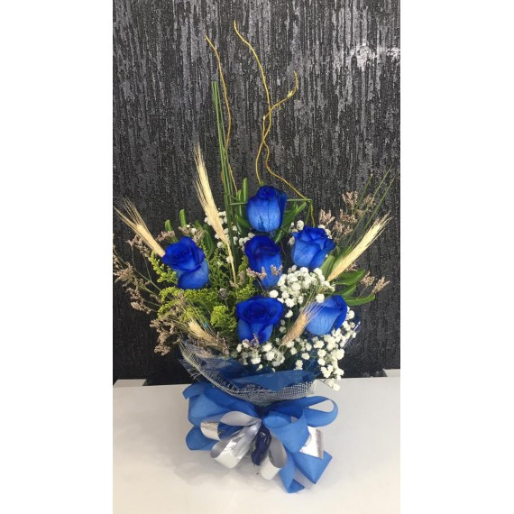 Arranjo Floral Com 6 Rosas Importadas Azuis
