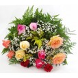 Buquê Tradicional 12 Rosas Coloridas Nacionais
