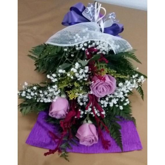 ramalhete, 3 rosas lilas nacionais