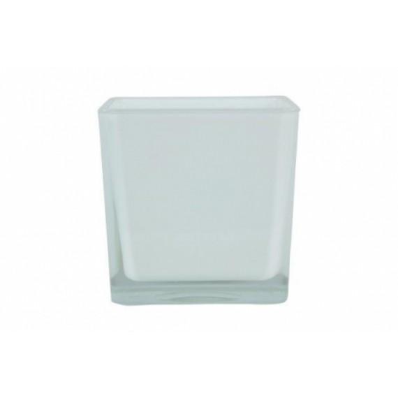 Vaso de Vidro Cubo Branco