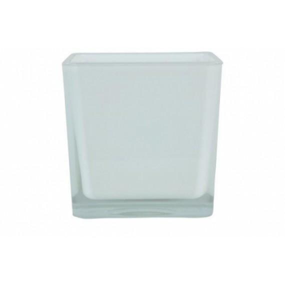 Vaso de Vidro Cubo Branco Cetim 14