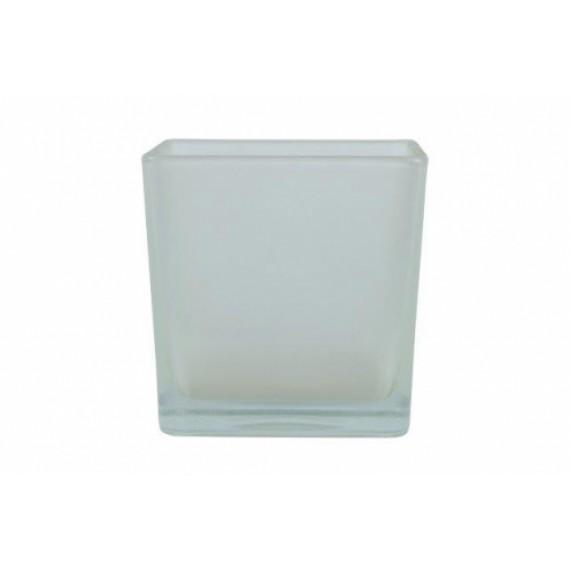 Vaso de Vidro Cubo Branco Cetim 12