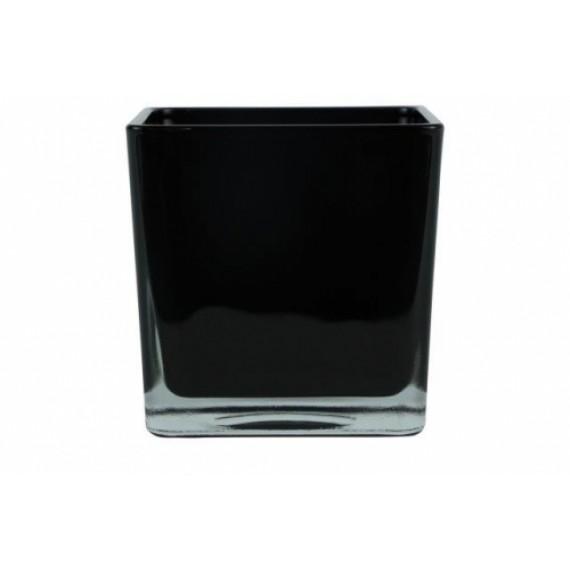 Vaso de Vidro Cubo Preto