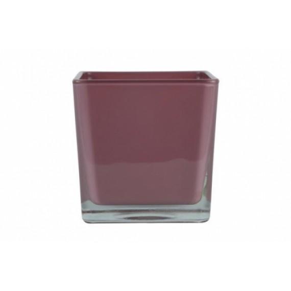 Vaso de vidro cubo Rosa Antigo