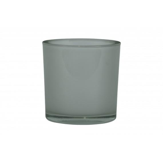 Vaso Cilíndrico de Vidro cor Branco Cetim