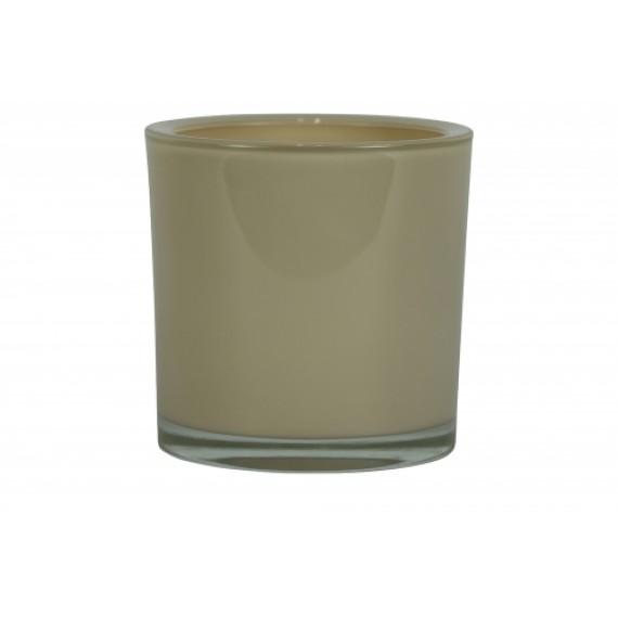 Vaso Cilíndrico de Vidro Cor Marfim