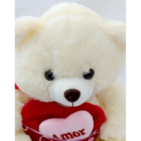 Ursinho Branco Coração Love 35cm