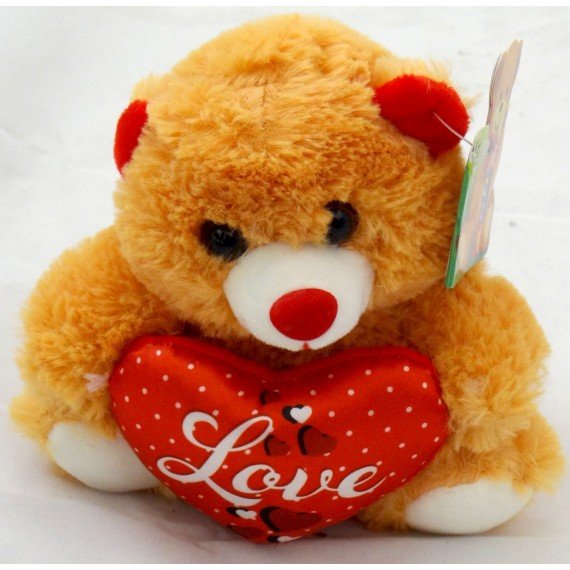 Ursinho Bege Escuro com Coração Love
