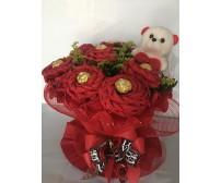 Arranjo Floral com 8 Flores de Ferreiro com Ursinho